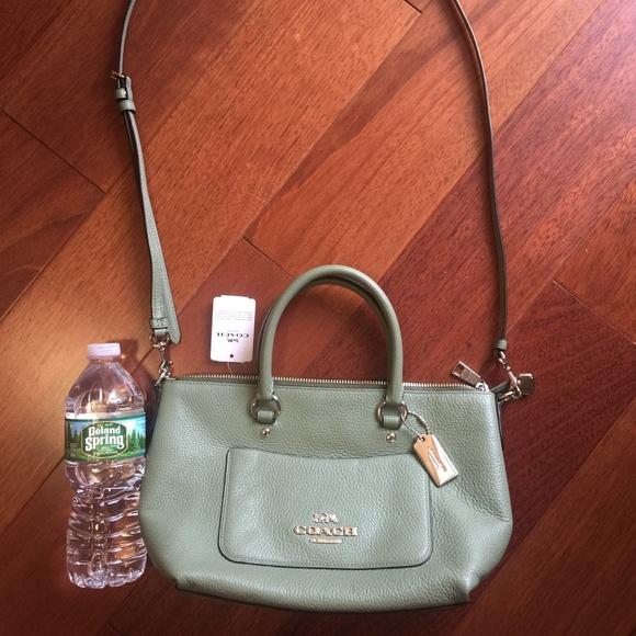 af87b29ab6c9 Mini Emma Clover Green Pebbled Leather Satchel Bag. Boutique. Coach